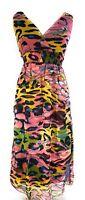Ladies Smocked Empire Waist Printed Tiered V Neck Sleeveless Dress NWT S-M-L-XL
