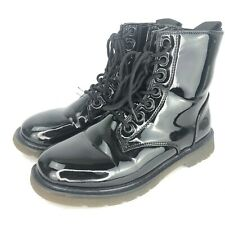Black Patent Combat Boot 8 Lace Up Ankle Zip Womens Military Army Style Shoe