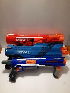 NERF Guns Lot Of 3- Rampage, Rival XVI-1200 & MEGA Rotofury. No Darts, Working