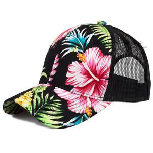 Hawaiian Trucker Hat Mesh Baseball Cap Hawaii Tropical Floral Snapback Men Hats