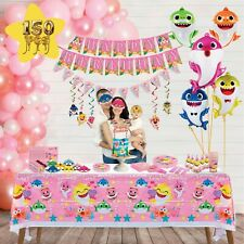 Shark Party Supplies Pink For Baby Set 🦈150 pcs 🦈 Birthday Decorations Shark