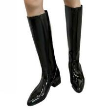 New Women Knee-high Chunky Low Heel Riding Knight Boots Patent Leather Outdoor L
