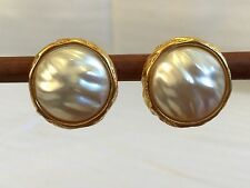 Ann Taylor Faux Pearl and Gold Tone Clip On Earrings with New Cushions
