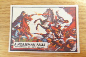 A&BC GUM CARD CIVIL WAR NEWS #54 A HORSEMAN FALLS 1965  NEAR MINT