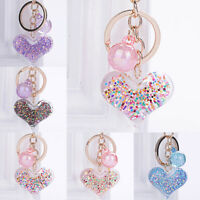 Transparent Heart Key Chain Colorful Sequins Key Ring Women Charm Bag Pendant