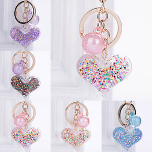 Transparent Heart Key Chain Colorful Sequins Key Ring Women Charm Bag Pendant