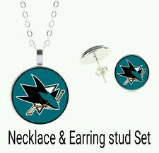 NHL San Jose Sharks necklace and earring stud set
