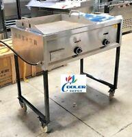 "NEW 41"" Taco Grill Griddle Cart 2 Burner Comal Asada Burger Pollo Model G24W1"