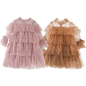 Toddler Girls Mesh Dresses Tutu Skirt Long Sleeves Stars Moons Adorned Layered