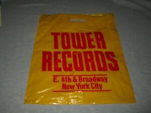 TOWER RECORDS-NEW YORK CITY-VINTAGE 1980s LARGE PLASTIC SHOPPING BAG