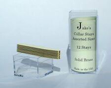 """12 Solid Brass Metal Collar Stays For Dress Shirts 2.15"""" Inch Jake's Small"""