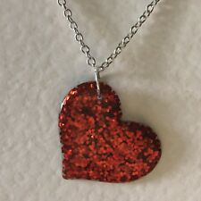 Red Holo Silver Large Heart Glitter Charms Holo Necklace D204 Glitter