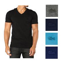 Lacoste Hombre Algodón Cuello en V monocromática Logo Athletic Camiseta