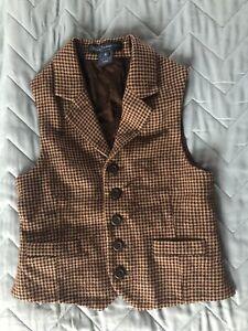 Polo Ralph Lauren Brown Tweed Waistcoat Vest Child's Boy's Toddler Suit Occasion