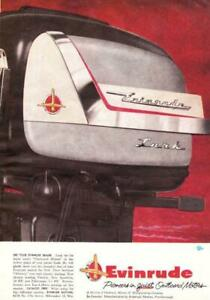 1956 Evinrude Lark Outboard Motor 2 page ad Great Color! Man Cave Art