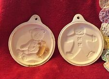 2 Vintage Stoneware Cookie Molds of Gingerbread Man & Teddy Bear Round w Hanger