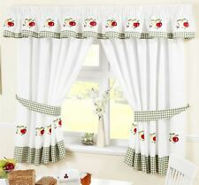 """APPLES & PEARS GREEN RED GINGHAM KITCHEN CURTAINS 66X54""""(117X137CM) INC TIEBACKS"""
