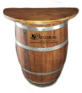 Halber Tisch Hälfte fass da Fässer Holz mit Regal 80 cm weinfass holz H 95 cm