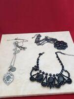 Lot of 3 Necklaces - 2 Black, 1 Silver Tone