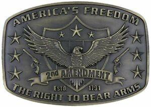 Montana Silversmiths Men's Second Amendment Heritage Attitude Belt Buckle