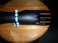 handmade Venetian glass baby blue bracelet aventurine gold coloured flecks