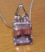 9ct Gold Necklace - 9ct White Gold Amethyst Pendant & Chain