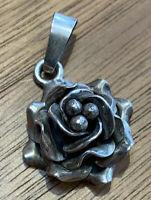 Vintage 925 Sterling Silver Rose Pendant