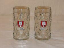 Pair of Vintage German G S Beer Mug Glass Spaten Munchen