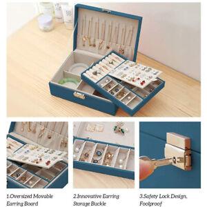Jewellery Box Organiser Small Travel PU Leather Jewelry Storage Case EarrinJH