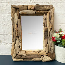 Vintage Rustic Natural Driftwood Rectangle Frame Bathroom Wall Decor Mirror Gift