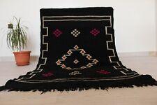 "Handmade Moroccan Rug Carpet Tribal Berber 4'9""x3'3"" Black Wool Carpet Area rug"