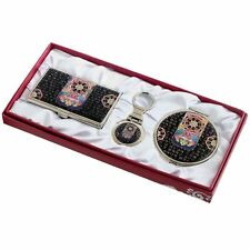 Business card holder ID case Makeup compact mirror keychain ring gift set #78