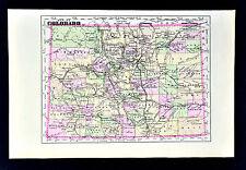 1896 Johnson Map - Colorado - Denver Bolder Springs La Junta Golden South Park