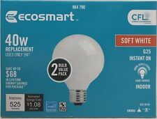 EcoSmart Soft White G25 CFL Light Bulb, 40W Equivalent 2 Pack Free Shipping!