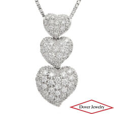 Estate 1.05ct Diamond 18K White Gold Three Heart Cluster Pendant NR
