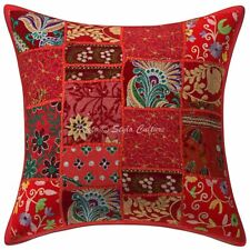 Decorative Cotton Throw Pillows Red Vintage Patchwork Floral Cushion Cover