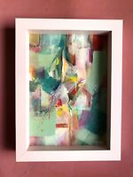 """Original Contemporary Abstract Art Acrylic Painting Small Framed 6x8"""" Colour"""