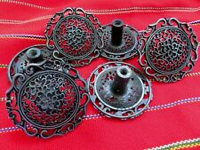 "Black w/ Silver Knobs 1 3/4"" Drawer Cabinet Set of 6 Japan Open Metal Lacelike"