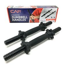 """CAP Standard Dumbbell Handles 14"""" Threaded Set of 2 with 4 Collars Coated Steel"""