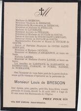 * 1911 Faire-part décès Louis de BRESCON.