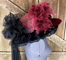 Derby Racing Formal Victorian Edwardian Hat ~ Burgundy Black Flowers & Feathers