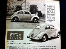 VOLKSWAGEN de Luxe Saloon  - 1954 - Road Test from The AUTOCAR magazine