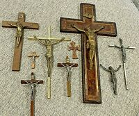 "Vintage Lot Of 7 Catholic Crucifix Wood and Metal Jesus Cross 2.25"" To 14"" Tall"
