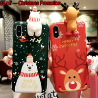 Christmas Cute Phone Cover Case iPhone XS Max 7 8 Plus XR X XS 3D Reindeer Tree