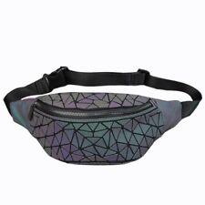 Luminous Geometric Holographic Reflective Waist Fanny Packs Travel Belt Bag