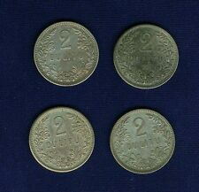 LITHUANIA 1925  2 LITU  SILVER COINS, LOT OF (4), VF/XF to  ALMOST UNCIRCULATED