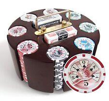 200ct. Ben Franklin 14g Poker Chip Set in Wood Carousel Case