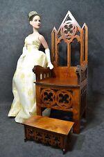 Gothic throne-chair + footrest for dolls 1/4 dollhouse furniture BJD Tonner