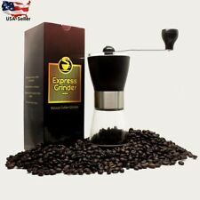 Premium Ceramic Burr Manual Coffee Grinder Stainless Steel & Glass Bean Mill