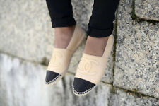 CHANEL LAMBSKIN BEIGE CC ESPADRILLES FLATS SHOES SIZE 36 UK 3 US 6